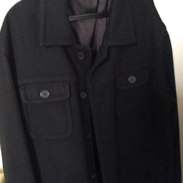 Casaco preto de lã, masculino tamanho g, da marca khelf
