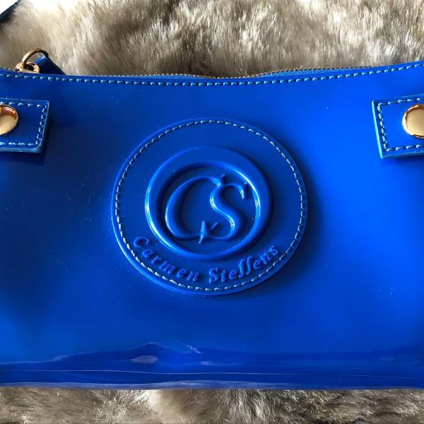 Bolsa azul verniz linda e original