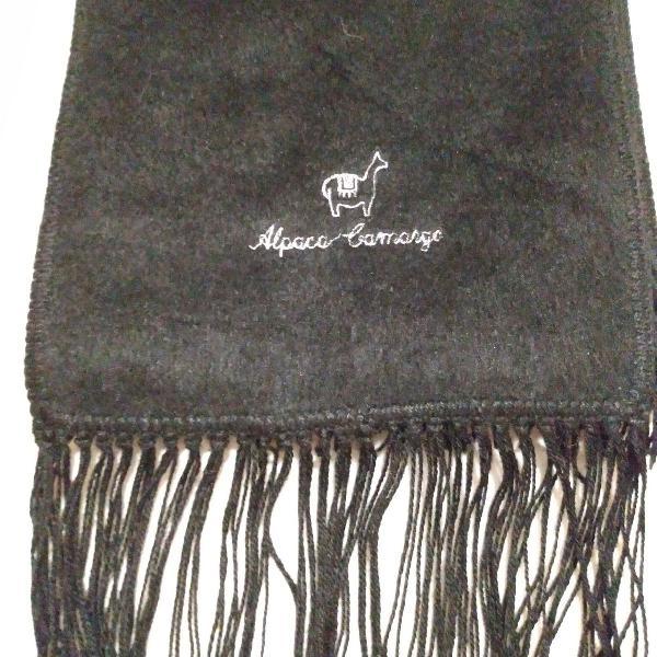 Cachecol de lã preto alpaca camargo