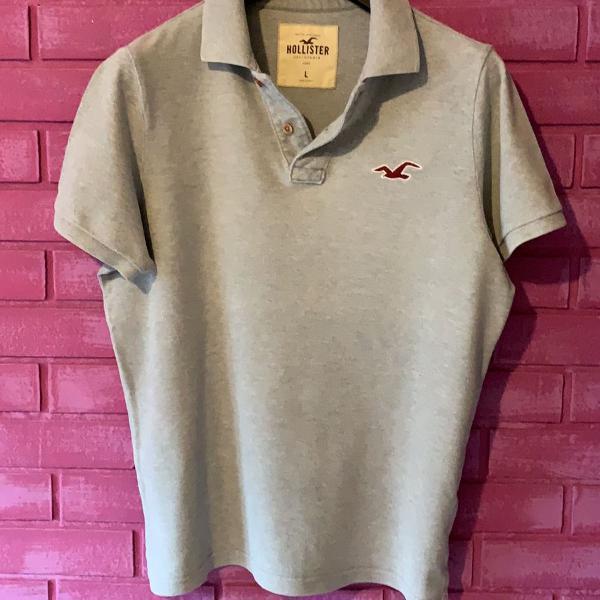 Camisa polo masculina hollister cinza g