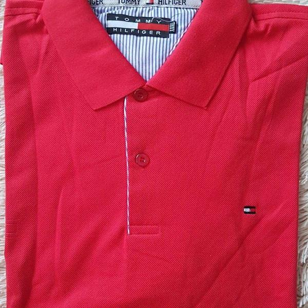 Camisa polo tommy hilfiger vermelha lisa tam gg