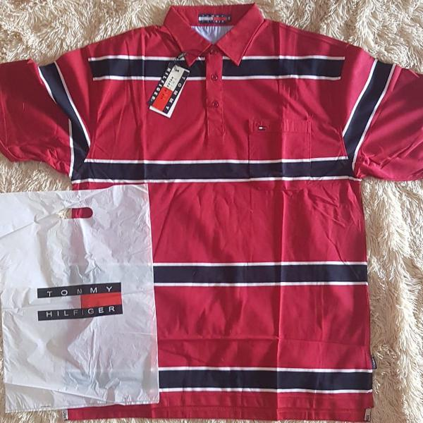 Camisa polo tommy hilfiger vermelha tam gg/xg