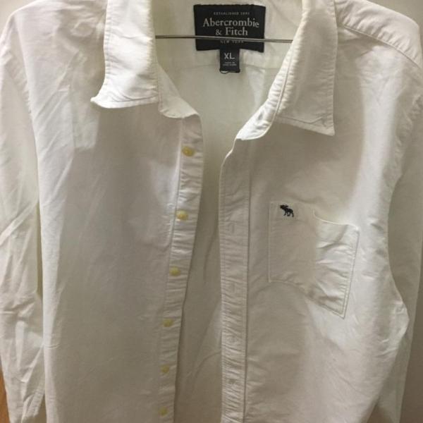 Camisa tecido, branca, tecido quente, abercrombie, tamanho