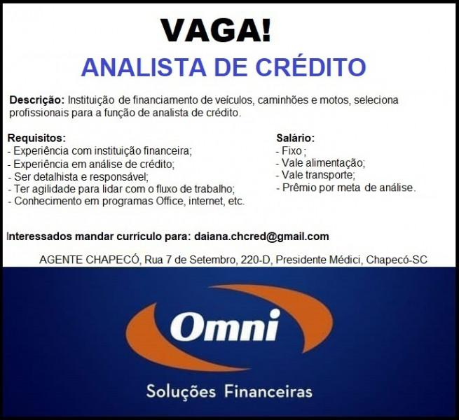 Analista de crédito com experiência - omni financeira