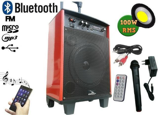 Caixa de som 100w rms amplificada subwoofer 8 bluetooth usb