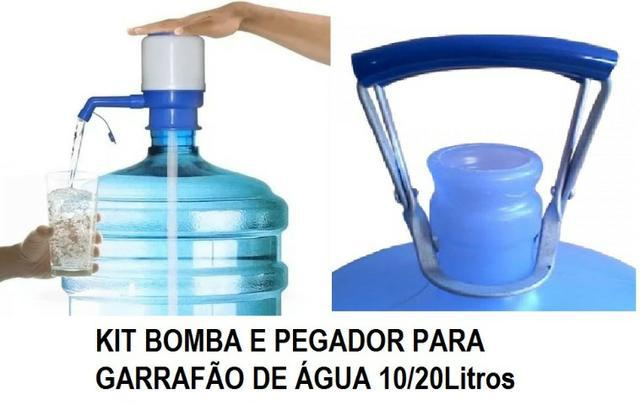 Kit bomba para garrafão galão 10/20litros e pegador de