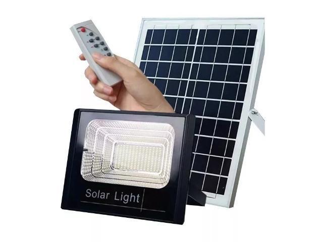 Refletor holofote led 40w + placa solar bateria recarregavel