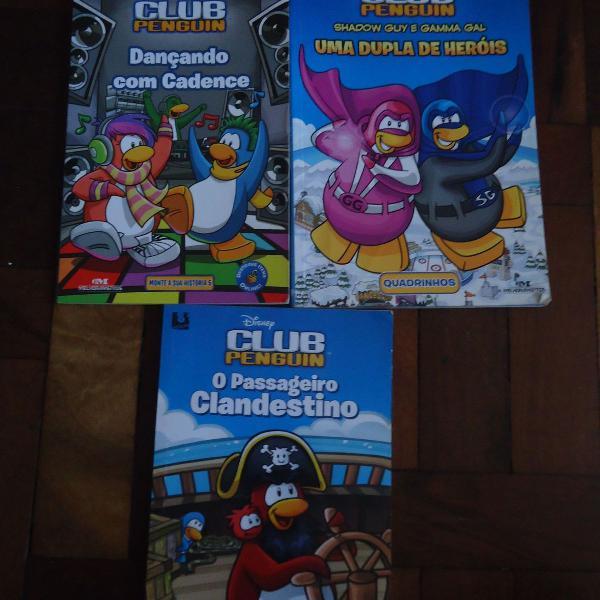 Coleção club penguin com 3 livros usados
