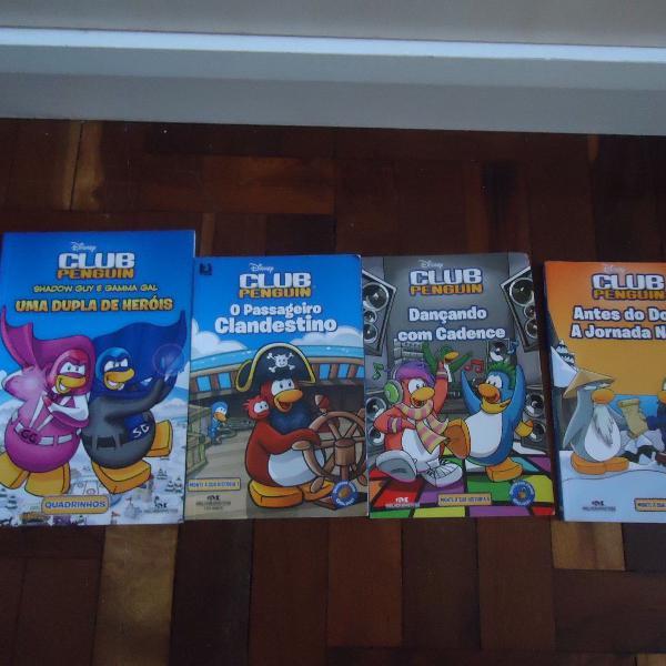 Coleção club penguin com 4 livros usados