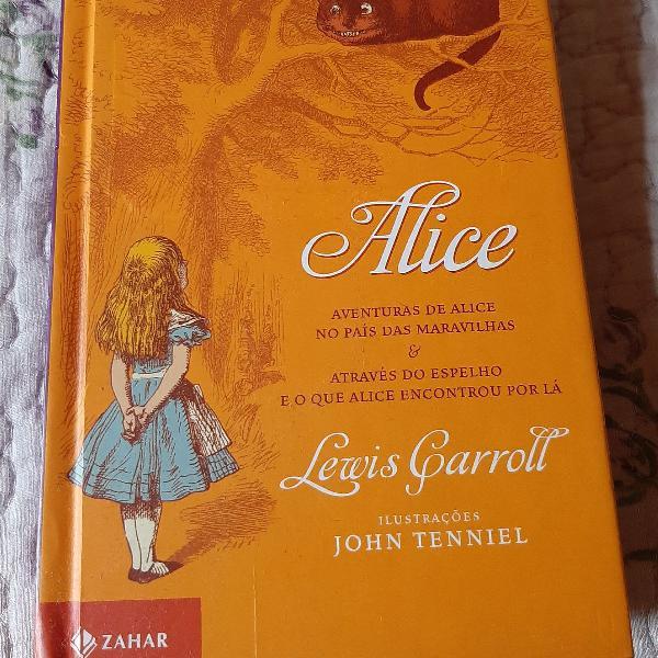 Livro alice, aventuras de alice no país das maravilhas,