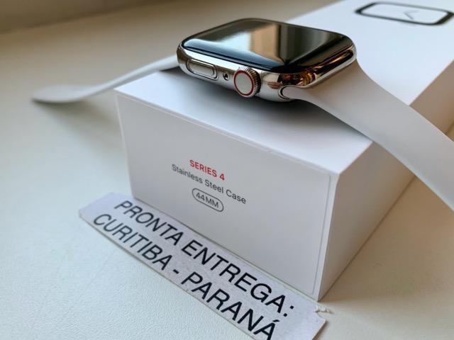 Apple watch série 4 44mm gps + celular caixa de aço