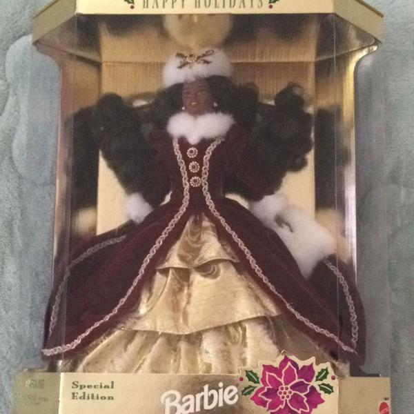 Barbie colecionador happy holidays morena muito rara