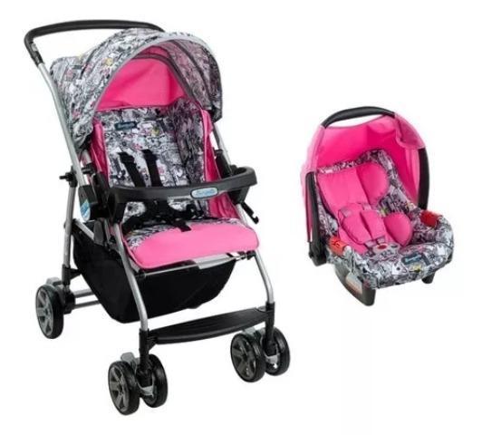 Carrinho + bebê conforto burigotto rio k rosa com grafite