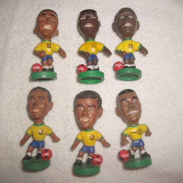 Lote 6 mini craques coca cola copa 1998 miniatura jogadores