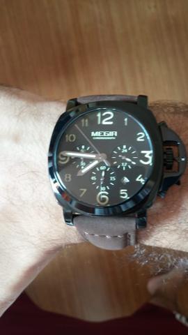 Relógio megir 3406 masculino luxo pulseira couro