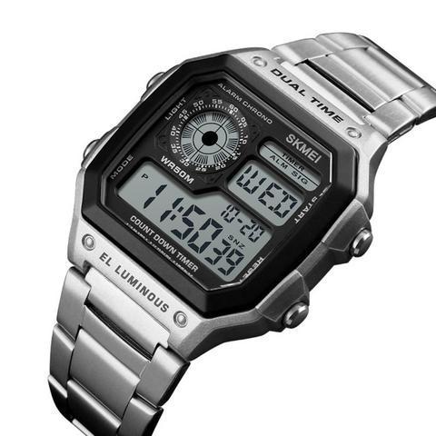 Relógio skmei digital esportivo pulseira aço inox original