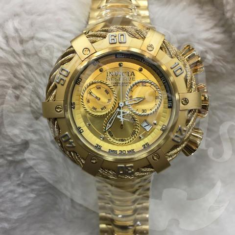 Relógios masculinos invicta thunderbolt dourado e prateado