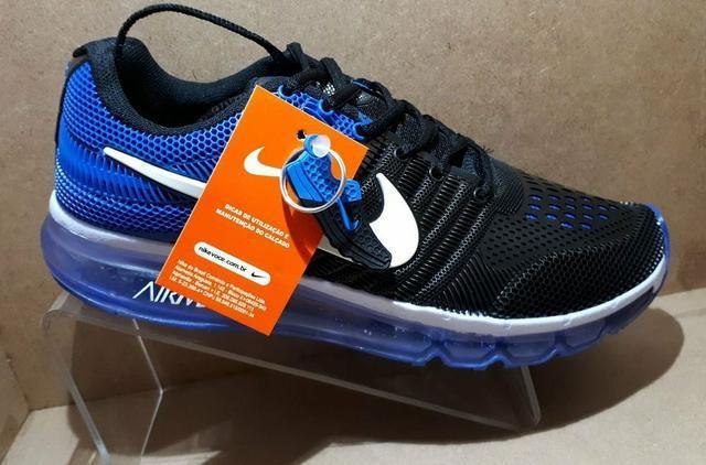 Tênis masculino nike air - azul royal e preto - entrega