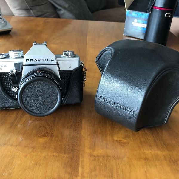Camera analogica praktica mtl 3 com lente 50mm e case couro