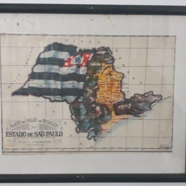 Reprodução antiga - mapa estado de são paulo década de