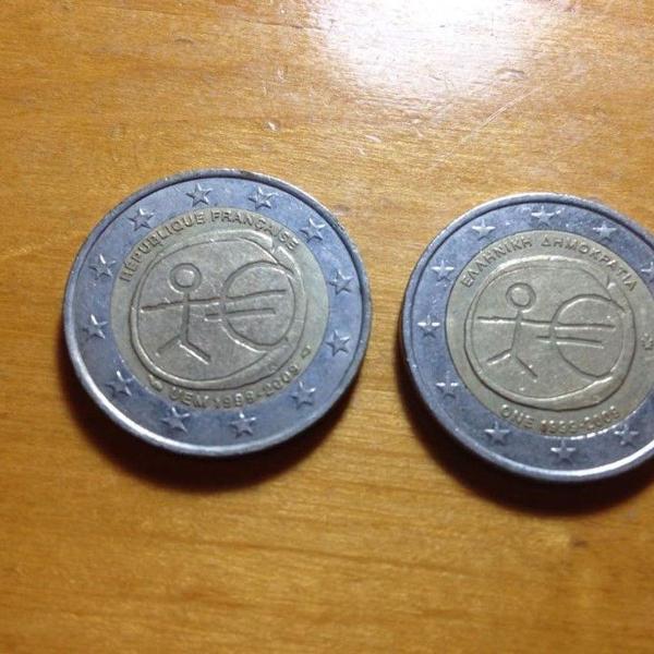 2 moedas de 2 euro especiais frança e grécia ler tudo r$95