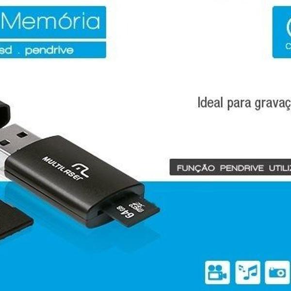 3x1 cartão de memória, pen drive, adaptador usb multilaser