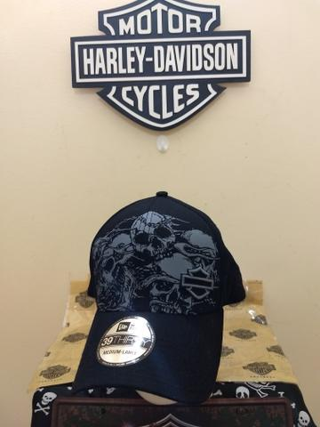 Boné harley davidson original skull black caveira novo tam