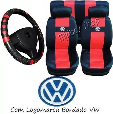 Gol g2 g3 g4 g5 capa banco de carro e capa volante vermelho