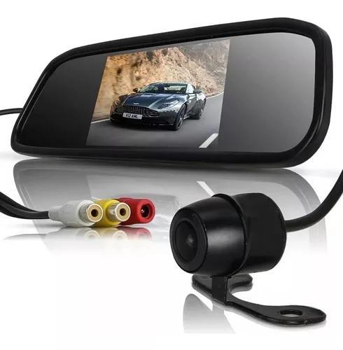 Kit estacionamento câmera ré noturna espelho retrovisor