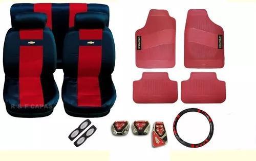 Kit vermelho capas bancos pedaleira tapetes corsa sedan 97
