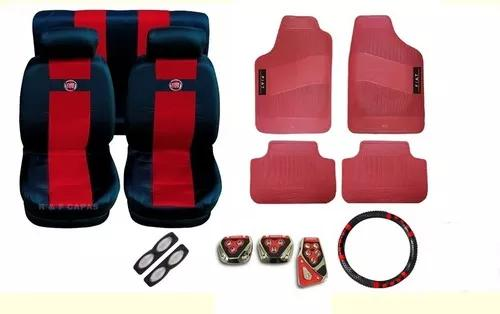 Kit vermelho capas bancos pedaleira tapetes volante palio 98