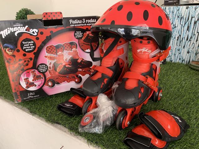 Patins infantil lad bug com kit segurança