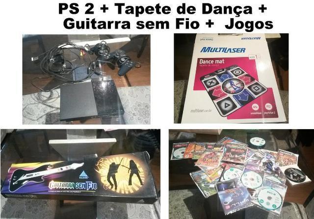 Playstation 2 + tapete de dança + guitarra sem fio + jogos