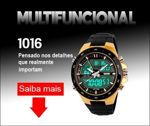 Relógio skmei 1016 led 2 em 1 multifunção skimei