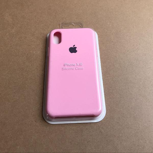 Capinha silicone apple - iphone xs rosa chiclete