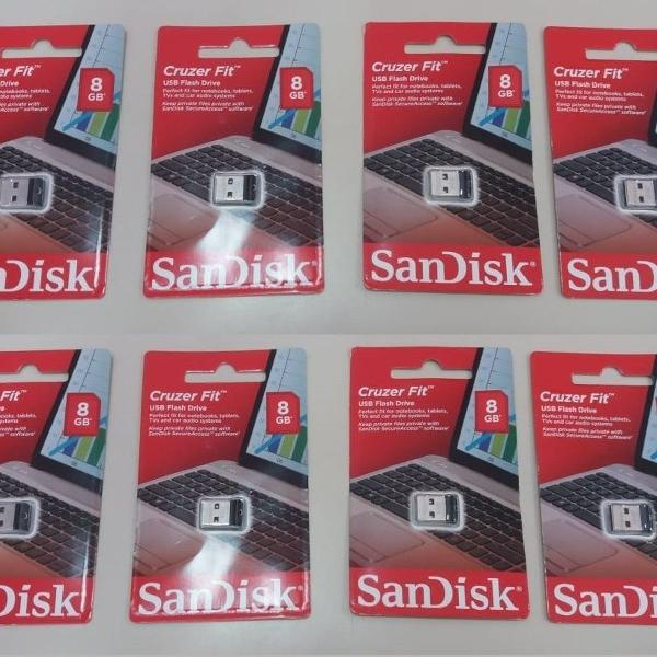 Kit 2 pen drive sandisk mini fit 8 gb