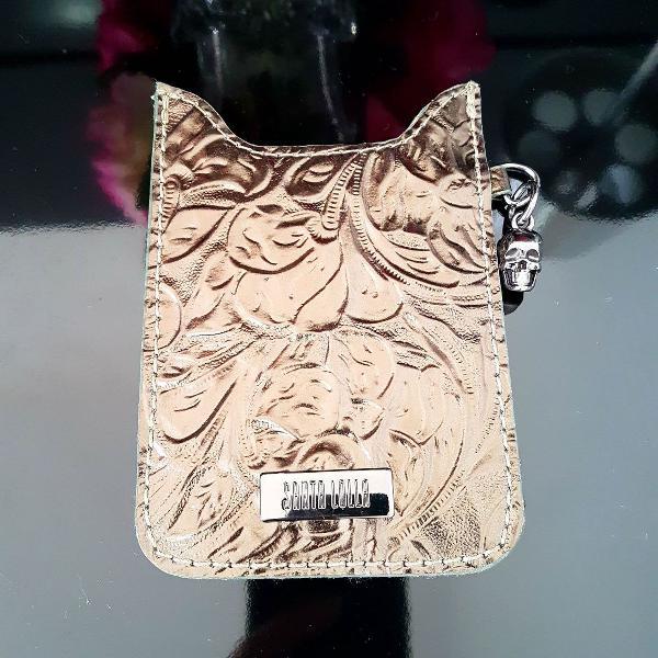 Porta celular ou cartão / case / capa santa lolla em couro