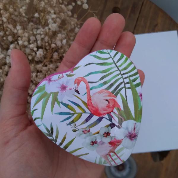 Porta objetos coração flamingos