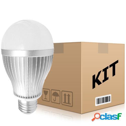 Kit 10 lâmpadas led bulbo e27 branco frio 15w bivolt
