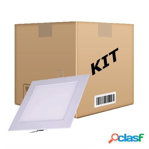 Kit 10 painel plafon quadrado luminária embutir led 24w bivolt branco quente