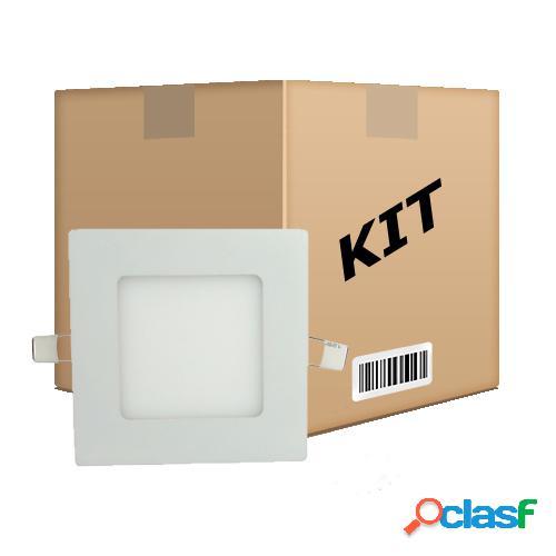 Kit 10 painel plafon quadrado luminária embutir led 6w bivolt branco frio