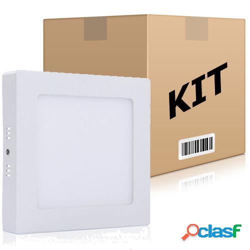 Kit 10 Painel Plafon Quadrado Luminária Sobrepor Led 18W Bivolt Branco Frio