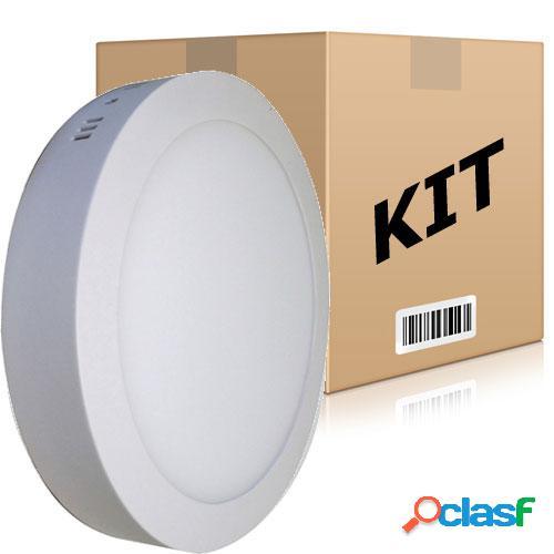 Kit 10 Painel Plafon Redondo Luminária Sobrepor Led 24W Bivolt Branco Frio
