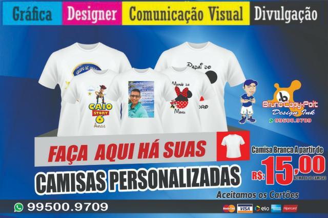 Camisas brancas personalizadas r$: 15,00 reais acima de 10