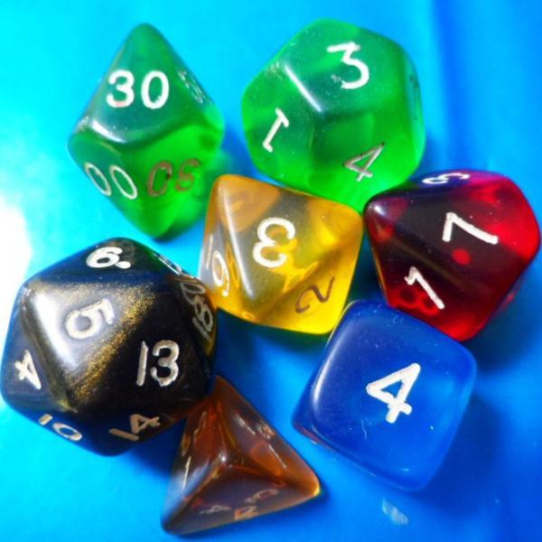 Dados de rpg, conjunto com 7 peças novas, cores variadas