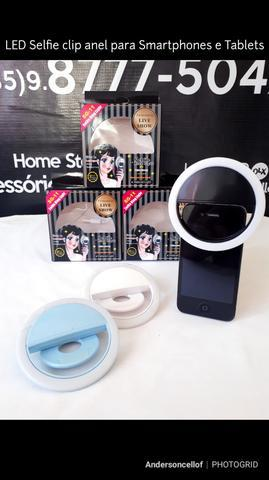 Led selfie clip anel para smartphones e tablets