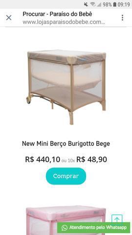 Mini berço burigoto + carrinho de bebê apollo galzerano +