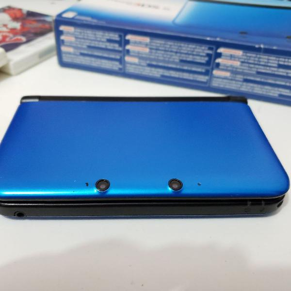 Nintendo 3ds xl azul + 4 jogos pokémon físicos