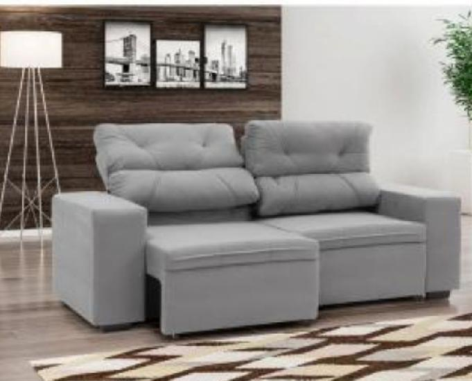 Sofá retrátil e reclinável 3 lugares suede - phormatta