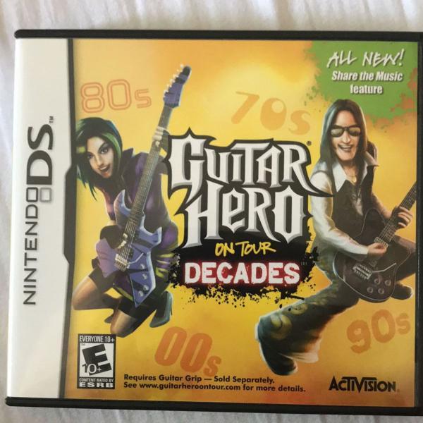 Joguinho nintendo ds. guitar hero decades. na caixa com tudo